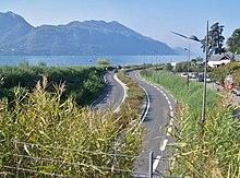 Route départementale 1201 longeant le lac du Bourget à Tresserve