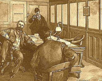 Henry Clay Frick - Berkman's attempt to assassinate Frick, as illustrated by W. P. Snyder in 1892, originally published in Harper's Weekly.