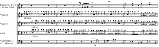 orchestral score of 8 bars or measures, with rapidly repeated notes underneath a melodic line