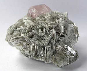 Muscovite - Muscovite with beryl (var. morganite) from Paprok, Afghanistan