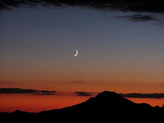 Lunar phase - Crescent moon over Kingman, Arizona.