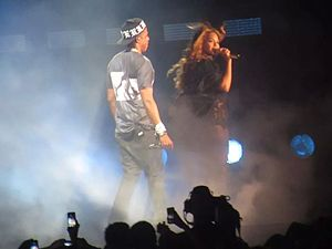 "On the Run Tour (Beyoncé and Jay-Z) - Beyoncé and Jay-Z performing ""Drunk in Love"" together, the duo's most recent collaboration."