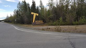 "Tustumena Lake - The ""Big Croked T"" and landmark on the road to Tustumena Lake region and boat launch on Kasilof River. The lake itself is not directly  accessible by road."