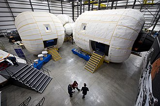 Bigelow Aerospace - A full-scale mockup of Bigelow Aerospace's Space Station Alpha inside their facility in Nevada.