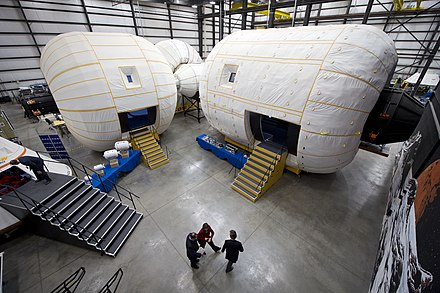 A full-scale mockup of Bigelow Aerospace's Space Station Alpha inside their facility in North Las Vegas. Bigelow Aerospace facilities.jpg