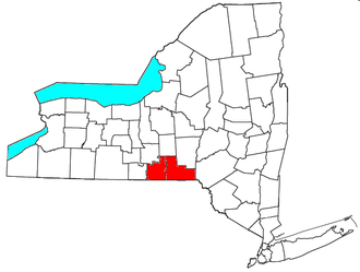 Binghamton metropolitan area - Location of the Binghamton Metropolitan Statistical Area in New York