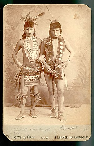 Black Elk - Black Elk (L) and Elk of the Oglala Lakota photographed in London, England in their grass dance regalia while touring with ''Buffalo Bill's Wild West'', 1887