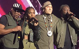 Black Eyed Peas performing at O2 Apollo Manchester on November 1, 2018 (from left) apl.de.ap, J. Rey Soul, Taboo, will.i.am