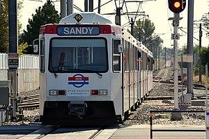 Fashion Place West (UTA station) - A Blue Line train to Sandy departing Fashion Place West