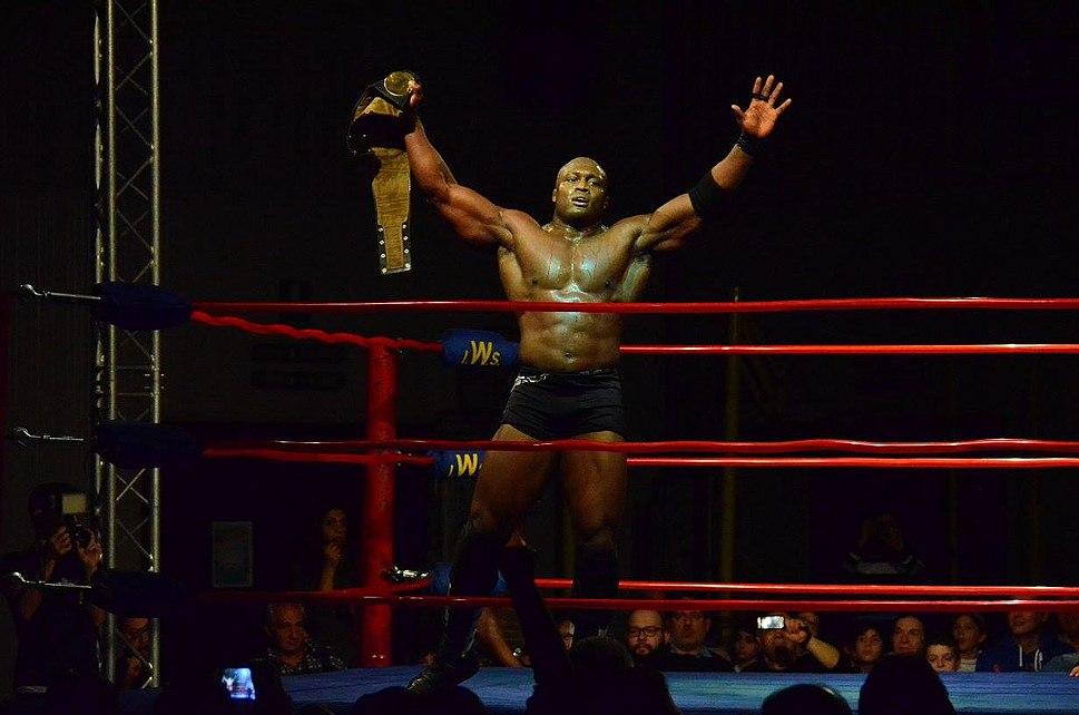 Bobby lashley winning heavyweight title in IWS italy