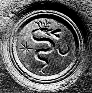 Dorothy Garai - A  serpent swallowing a heart, Queen Dorothy's coat of arms as depicted on an artefact found in the Bobovac chapel