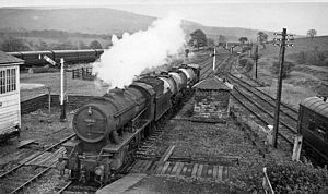 Bolton Abbey railway station - Bolton Abbey Station with a Down train of tank wagons in 1961