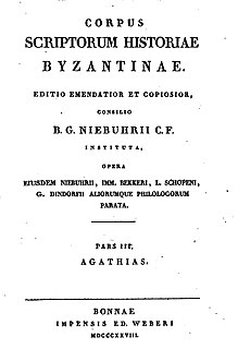 <i>Corpus Scriptorum Historiae Byzantinae</i> monumental fifty-volume series of primary sources for the study of Byzantine history