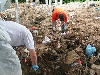 Rape during the Bosnian War - Excavation of a mass grave in eastern Bosnia. Civilian men from Foča were executed whilst women were detained and repeatedly raped by members of the Bosnian Serb armed forces.