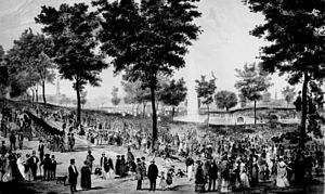 Boston Common - View of the water celebration on Boston Common on October 25, 1848