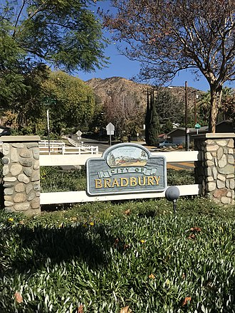 Bradbury, California - A Bradbury entrance sign on Mt. Olive Drive