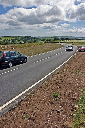 Brandish Corner - Brandish, looking in the general direction of Douglas, towards the end of the lap of the TT course showing newly instated side-verges in 2007 after completion of roadworks