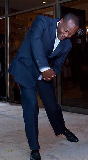 Trinidad and Tobago national cricket team - Brian Lara shows how to swing a bat on 19 April 2009.