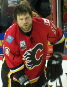 McGrattan stares intently into the distance during a pre-game warmup.