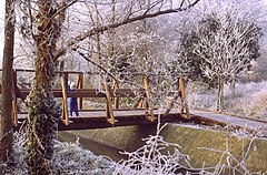 Bridge over the stream, Stanwell Moor in winter - geograph.org.uk - 96591.jpg