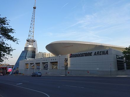 Bridgestone Arena, home of the Nashville Predators Bridgestone Arena (North face) 2.JPG