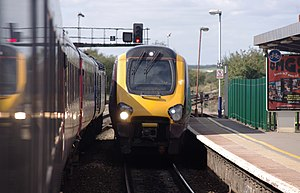 Bristol Parkway railway station - Bristol Parkway is served by intercity services operated by CrossCountry and Great Western Railway. Here, a northbound CrossCountry service passes a westbound First Great Western service.