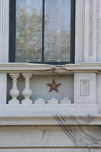 South Carolina State House - Example of one of the six bronze stars, marking the spots hit by Sherman's cannons