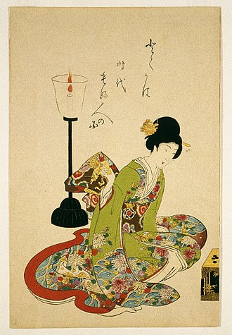 Toyohara Chikanobu - A Seated Woman with a Lacquer Candle Stand (c. 1875) by Chikanobu. Wood-block print, 36.2 × 23.8 cm (14.25 × 9.37 in). Collection of Brooklyn Museum.