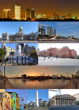 Clockwise from top: skyline of the city at dusk, the National Congress, the Woman's Bridge, the Cabildo, the Pink House, panorama of Puerto Madero, Caminito in La Boca, the Obelisk and the Metropolitan Cathedral.
