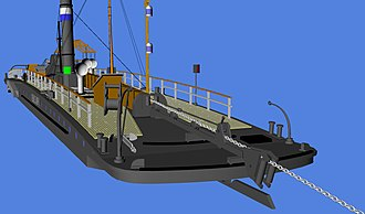 Chain boat - Front view of a chain boat with its boom