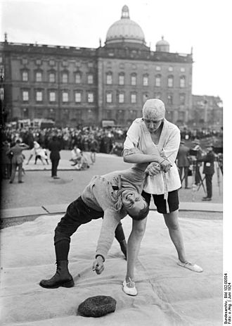 Self-defense - Demonstration of a Ju-Jitsu defence against a knife attack. Berlin 1924