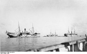 Deutsche Ost-Afrika Linie - Deutsche Ost-Afrika Linie steamers in harbour at Zanzibar, 1901