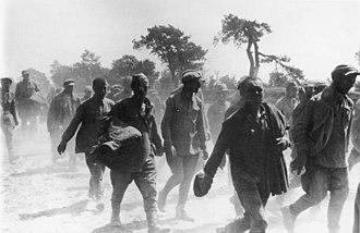 German mistreatment of Soviet prisoners of war - Red Army soldiers, captured between Lutsk and Volodymyr-Volynskyi. June 1941
