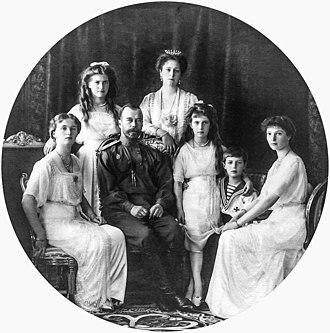 Ganina Yama - Nicholas II with his family. (left to right) Olga, Maria, Tsar Nicholas II, his wife Alexandra, Anastasia, Alexei and Tatiana.