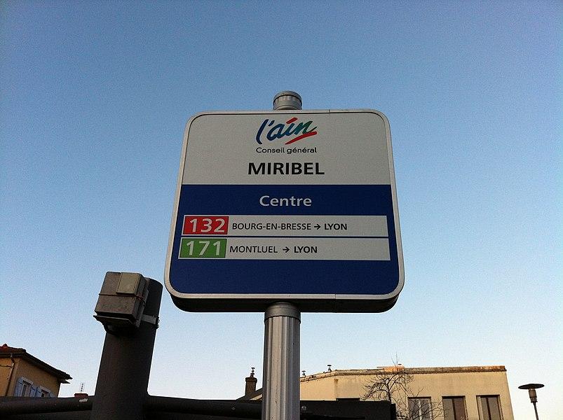 Panneau indicateur des bus de l'Ain, à Miribel.