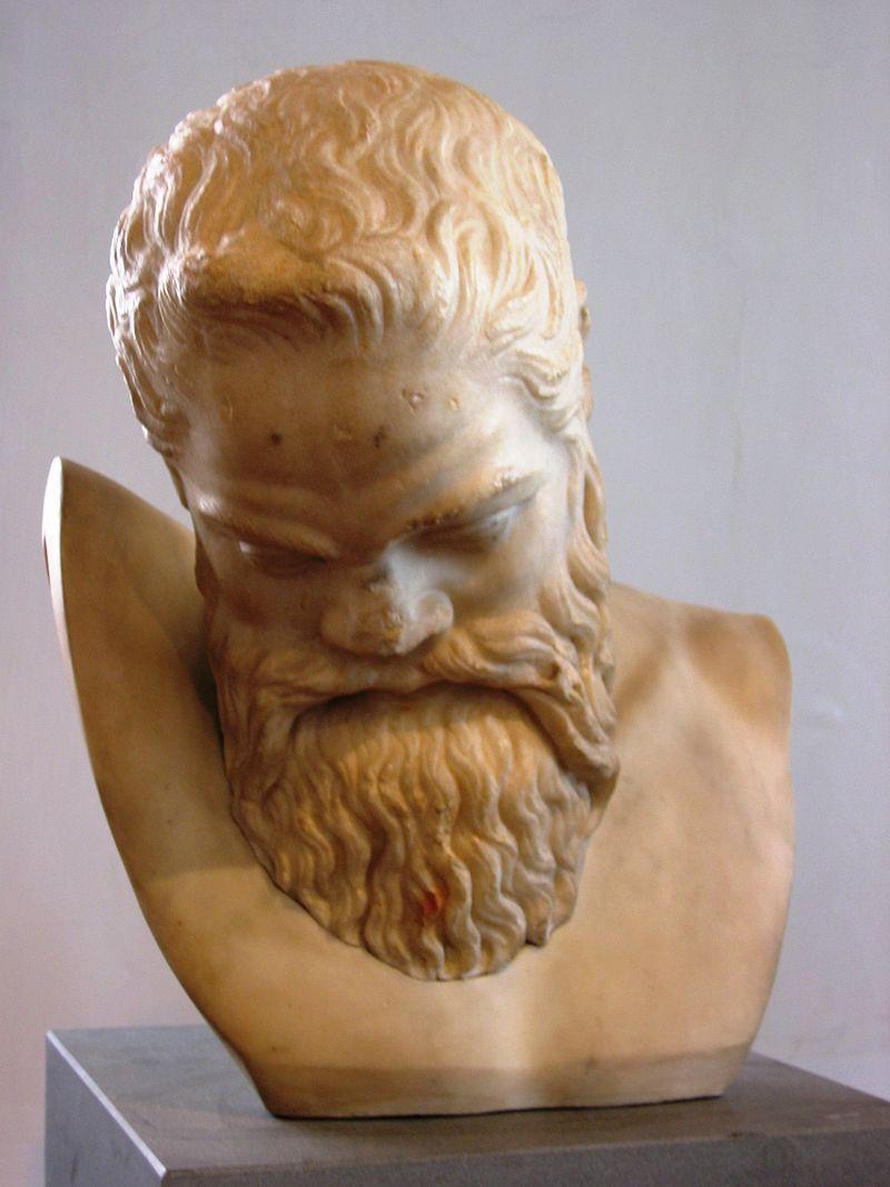 Busto del sileno Marsia, copia di epoca antonina (II sec. d.C.) da originale greco di Mirone (metà V sec. a.C.), marmo pario.JPG