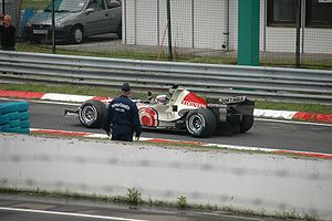 2006 Hungarian Grand Prix - Button returns to the pit lane having won the race.