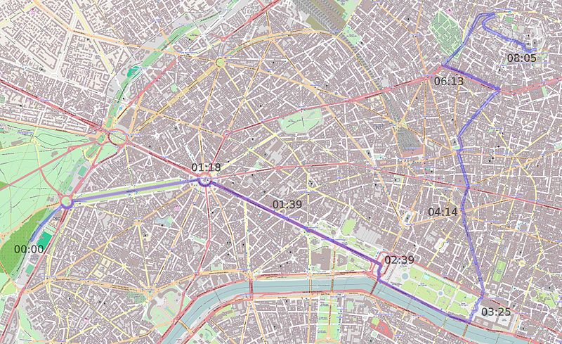 Map of the Route from Openstreetmap