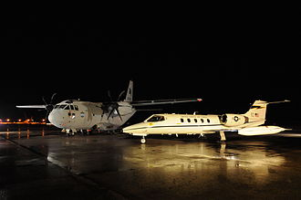 Connecticut Military Department - A Connecticut C-21A sits beside a C-27 during an Alenia familiarisation visit to Bradley ANGB