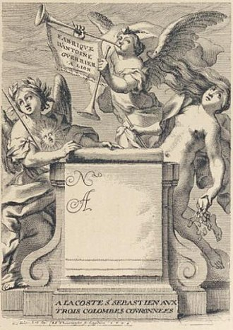 Trade card -  One of the oldest trade cards, printed in Lyon and designed by Thomas Blanchet in 1674 for the firm of Antoine Guerrier.