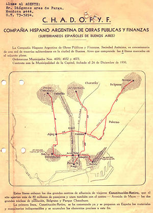 Line D (Buenos Aires Underground) - The original plans for Line D were similar to those of Line G