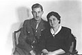 CHAIM HERZOG IN A BRITISH ARMY UNIFORM POSING WITH HIS MOTHER, RABBANIT SARA HERZOG. חיים הרצוג במדי הצבא הבריטי עם אמו הרבנית שרה הרצוג.D63-095.jpg