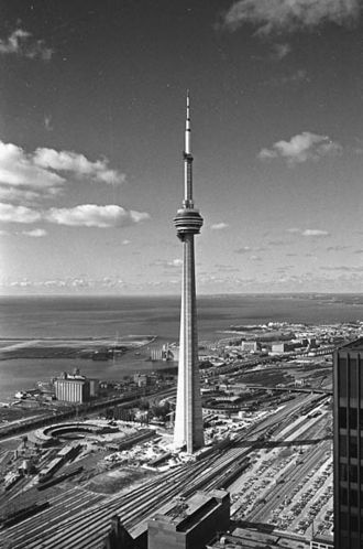 Railway Lands - The CN Tower, the first part of the redevelopment of the Railway Lands, seen in 1975.