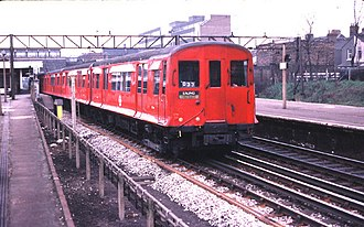 Circle line (London Underground) - O Stock was used on the Circle line 1947–70. Here photographed at Barking in 1980.
