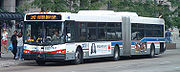 An articulated bus (or bendy bus) operated by the CTA in Chicago, Illinois, USA.
