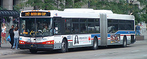 An articulated bus operated by the CTA in Chicago