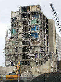 The demolition of one of the Cabrini-Green buildings