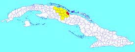 Caibarién municipality (red) withinVilla Clara Province (yellow) and Cuba
