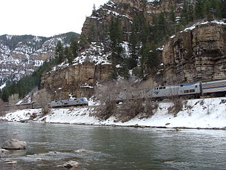 Glenwood Canyon - The eastbound and westbound California Zephyrs meet in the Glenwood Canyon.
