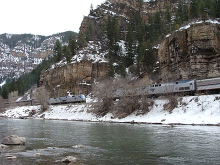 The westbound and eastbound California Zephyrs meet in the Glenwood Canyon. California Zephyr--Eastbound meets Westbound in Glenwood Canyon.jpg